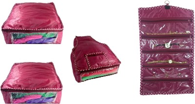 Addyz Plain Combo Of 2 Saree Covers And 1 Blouse Cover With 1 Watch Anklets Cover Storage Multipurpose Bag Maroon Addyz Garment Covers