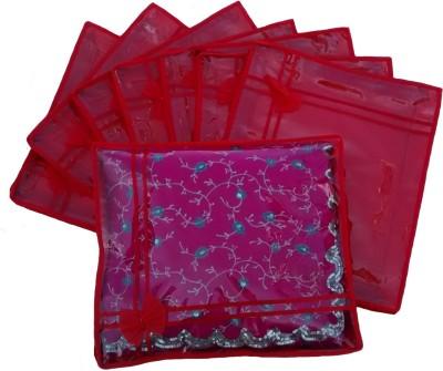 INDI BARGAIN Designer Red set of 8 transparent double saree cover Red INDI BARGAIN Garment Covers