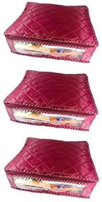 KUBER INDUSTRIES Designer Saree cover Wardrobe Organiser Regular Cloth Bag Set of 3 Pcs MKUSCP105 Maroon KUBER INDUSTRIES Garment Covers