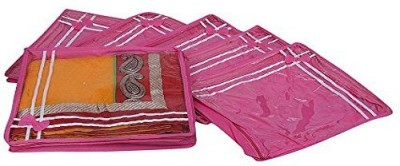 KUBER INDUSTRIES Stripe Designer Saree cover 6 Pcs Combo Non Wooven Material MKU0015522 Pink KUBER INDUSTRIES Garment Covers