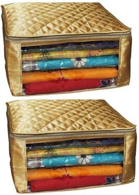 Kuber Industries Designer Saree Cover Golden Quilted Set of 2 pcs MKUSC405 Golden
