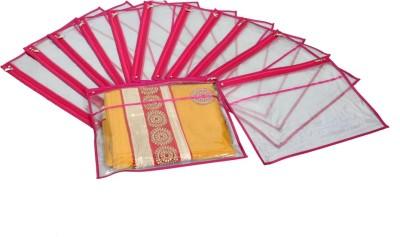 KUBER INDUSTRIES Designer Single Packing Transparent Saree Cover Set Of 12 Pcs  With Zip Lock  KUBS80 Pink