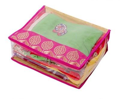 KUBER INDUSTRIES Designer Heavy Transparent Saree Cover  Designer Gota  MKU006620 Pink KUBER INDUSTRIES Garment Covers