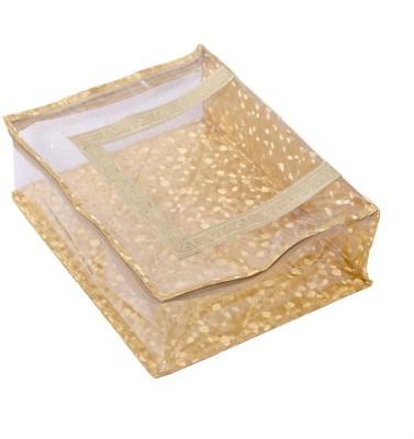 KUBER INDUSTRIES Designer Kuber Industries Designer Quilted Transparent Saree Cover MKU00006615 Golden KUBER INDUSTRIES Garment Covers
