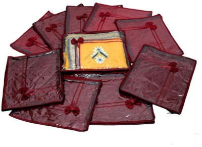 KUBER INDUSTRIES Designer Saree Cover Quilted Satin 10 Pcs Set MKUSC142 Maroon KUBER INDUSTRIES Garment Covers