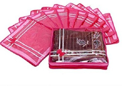 KUBER INDUSTRIES Designer Saree Cover Non Wooven Material 12 Pcs Set  Pink  sc039 Pink KUBER INDUSTRIES Garment Covers
