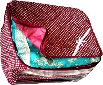 KUBER INDUSTRIES Designer Cottom Saree Cover Combo Of 5 Pcs MKU231 Maroon KUBER INDUSTRIES Garment Covers