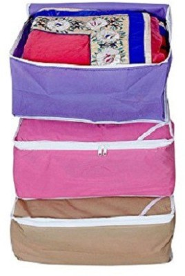 KUBER INDUSTRIES Designer Non woven Saree cover Set of 3 Pcs /Wardrobe Organiser/Regular Clothes Bag SC090 Multicolor KUBER INDUSTRIES Garment Covers