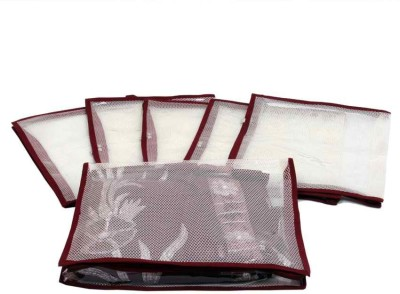 KUBER INDUSTRIES Designer Saree Cover in Transparent Net 6 Pcs Set MKUSC111 Maroon KUBER INDUSTRIES Garment Covers
