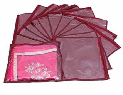 KUBER INDUSTRIES Designer Single Packing Saree Cover 12 pcs set  Maroon  sc008 Maroon KUBER INDUSTRIES Garment Covers