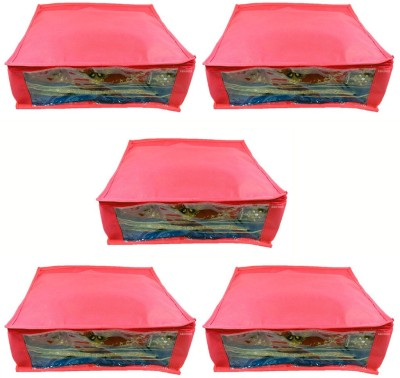 Abhinidi Non Woven Multipurpose Saree Cover 5PC Capacity5 6 Units Each Red