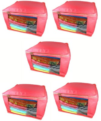 Abhinidi Non Woven Multipurpose Saree Cover 5PC Capacity10 15 Units Each Red