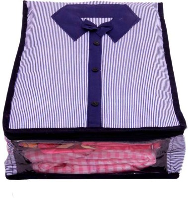 KUBER INDUSTRIES Designer Shirt Cover in Quilted Cotton Material MKUSC128 Blue KUBER INDUSTRIES Garment Covers