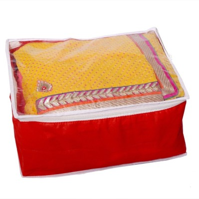 KUBER INDUSTRIES Designer Transparent Non Woven Multi Saree Cover  10 15 Sarees Capacity  MKU006676 Red KUBER INDUSTRIES Garment Covers