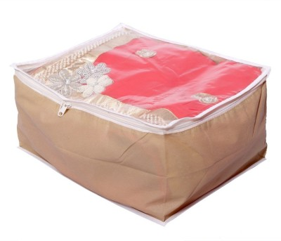 KUBER INDUSTRIES Designer Transparent Non Woven Multi Saree Cover  10 15 Sarees Capacity  MKU006677 Beige KUBER INDUSTRIES Garment Covers