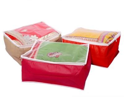KUBER INDUSTRIES Designer Transparent Non Woven Multi Saree Cover Set of 3 Pcs MKU006679 Multicolor KUBER INDUSTRIES Garment Covers
