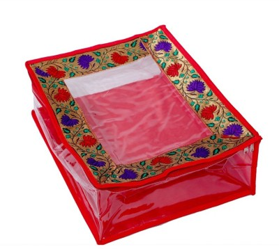 KUBER INDUSTRIES Designer Quilted Transparent Saree Cover MKU006708 Red KUBER INDUSTRIES Garment Covers