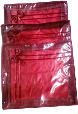 Glitter Saree Cover 3pcs Combo Red