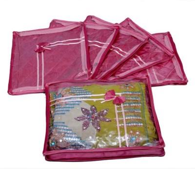 KUBER INDUSTRIES Designer Saree Cover 6 Pcs Combo In Pink Satin MKU0050052 Pink KUBER INDUSTRIES Garment Covers