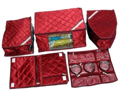 KUBER INDUSTRIES Designer Saree, Blouse   Peticot, Lingrie Cover   Foldable Make Up Kit In Maroon Satin 5 Pcs Combo SC57 Maroon KUBER INDUSTRIES Garme