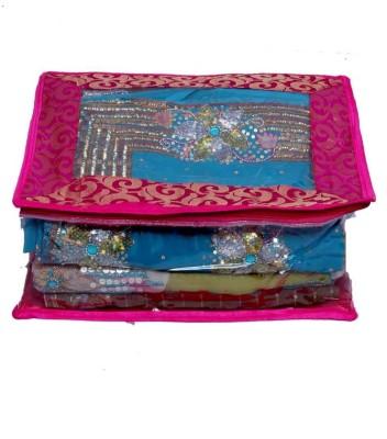 KUBER INDUSTRIES Designer Saree Cover In Fancy Transparent Brocade SC61 Pink KUBER INDUSTRIES Garment Covers