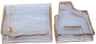 KUBER INDUSTRIES Designer Saree Cover   Blouse Cover Golden Transparent MKU0050028 Gold KUBER INDUSTRIES Garment Covers