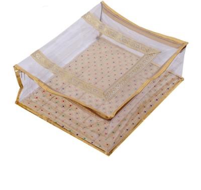 KUBER INDUSTRIES Designer Kuber Industries Designer Quilted Transparent Saree Cover MKU00006616 Golden KUBER INDUSTRIES Garment Covers