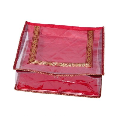 KUBER INDUSTRIES Designer Quilted Transparent Saree Cover MKU006619 Maroon KUBER INDUSTRIES Garment Covers