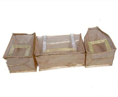 KUBER INDUSTRIES Designer Saree, Blouse   peticot cover in designer golden Brocade 3 Pcs set MKU5086 Gold KUBER INDUSTRIES Garment Covers