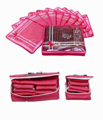 KUBER INDUSTRIES Designer Special Combo, 12 pcs of Bow Saree Cover, Jewellery Kit 1 Big 1 Small MKUCOM105 Pink KUBER INDUSTRIES Garment Covers