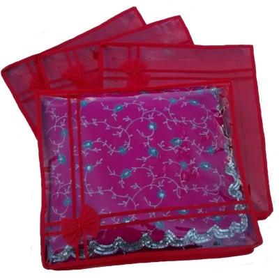 Indi Bargain Designer Red set of 4 transparent double saree cover Red Indi Bargain Garment Covers