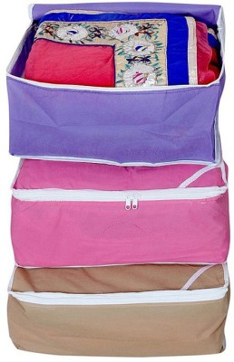 Kuber Industries Saree Covers 3 Pcs Combo AA10 Pink, Beige, Blue