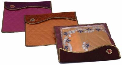 KUBER INDUSTRIES Designer Broach Saree Cover In Flap   3pcs MKU73031 Multicolor KUBER INDUSTRIES Garment Covers