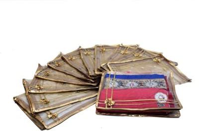 KUBER INDUSTRIES Designer Saree cover Transparent in Polka dots 12 Pcs Set MKUSC114 Gold KUBER INDUSTRIES Garment Covers
