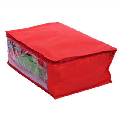 KUBER INDUSTRIES Designer Non Woven Saree Cover MKU006604 Red KUBER INDUSTRIES Garment Covers