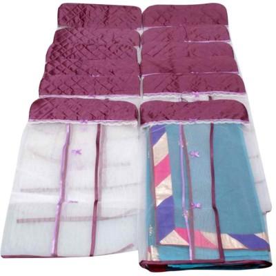 KUBER INDUSTRIES Designer Hanging Saree Cover Set of 12 Pcs MKUSC149 Purple KUBER INDUSTRIES Garment Covers
