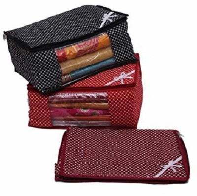 KUBER INDUSTRIES Designer Multi 3 Layered Quilted Printed Transparent Multi Saree Cover  10 15 Sarees Capacity  Set of 3 Pcs sc048 Multicolor KUBER IN