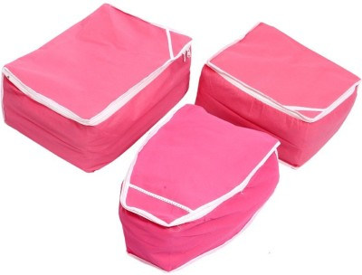 KUBER INDUSTRIES Designer Kuer Industrs Saree, Blouse, Peticot Cover Set of 3 Pcs  Non Woven  MKU00006692 Pink KUBER INDUSTRIES Garment Covers