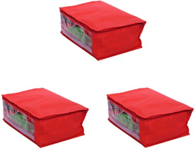 KUBER INDUSTRIES Designer Saree Cover Set of 3 Pcs in Non Woven Material  Red  SLT023 Multicolor KUBER INDUSTRIES Garment Covers