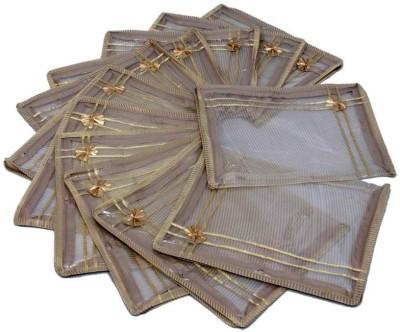 KUBER INDUSTRIES Designer Saree Cover 12 Pcs Combo Golden Net MKU0050005 Gold KUBER INDUSTRIES Garment Covers