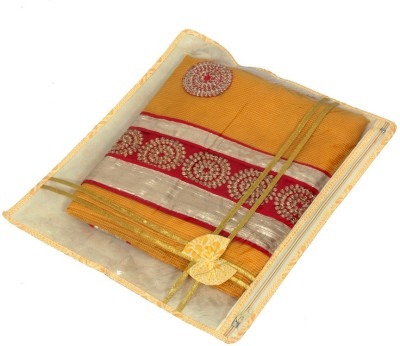 KUBER INDUSTRIES Designer Printed Non Wooven Saree Cover Set Of 6 Pcs  With Zip Lock  KUBS45 Yellow KUBER INDUSTRIES Garment Covers