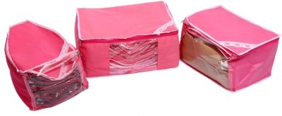 KUBER INDUSTRIES Designer Saree Blouse Peticot Cover Set of 3 Pcs  Non Woven  MKU006696 Pink KUBER INDUSTRIES Garment Covers