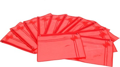 KUBER INDUSTRIES Designer Non Wooven Single Saree Cover Set Of 12 Pcs  With Zip Lock  KUBS13 Red KUBER INDUSTRIES Garment Covers