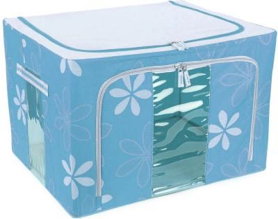 KUBER INDUSTRIES Designer Saree Cover /Lehenga/Woolens Storage Box with Steel Frames   Flower SKU007602 Sky Blue KUBER INDUSTRIES Garment Covers