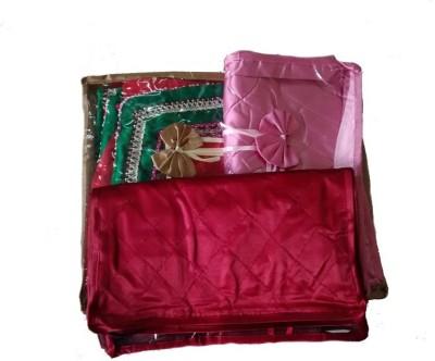 KUBER INDUSTRIES Saree Cover 3 Pcs in satin Mku179 Pink, Maroon, golden KUBER INDUSTRIES Garment Covers