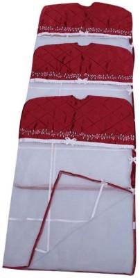 Fashion Bizz Designer Satin Hanging Saree Cover Set Of 3 Pcs Combo FB Maroon Fashion Bizz Garment Covers