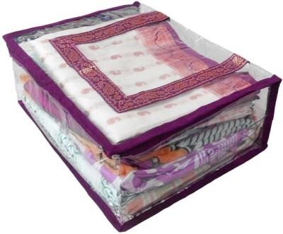 KUBER INDUSTRIES Designer Transparent Saree Cover   Upto 15 Pcs Mku215 Maroon KUBER INDUSTRIES Garment Covers