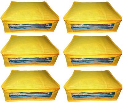Addyz Plain 6pcs ladies Large Non   woven Saree cover Upto 5   6 each Yellow Addyz Garment Covers