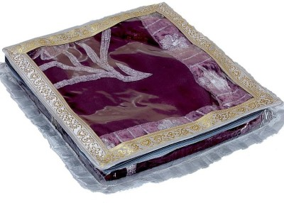 KUBER INDUSTRIES Saree Covers Tissue With Designer Frill AA12 Silver KUBER INDUSTRIES Garment Covers