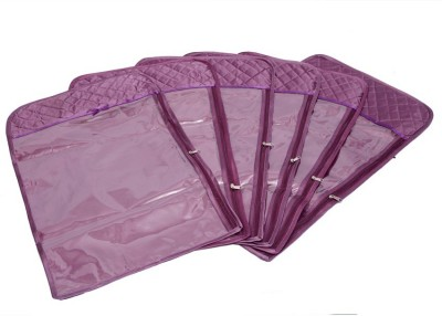 KUBER INDUSTRIES Designer Hanging Saree Cover In Quilted Satin  6 Pcs Set  Purple  MKU006697 Purple KUBER INDUSTRIES Garment Covers
